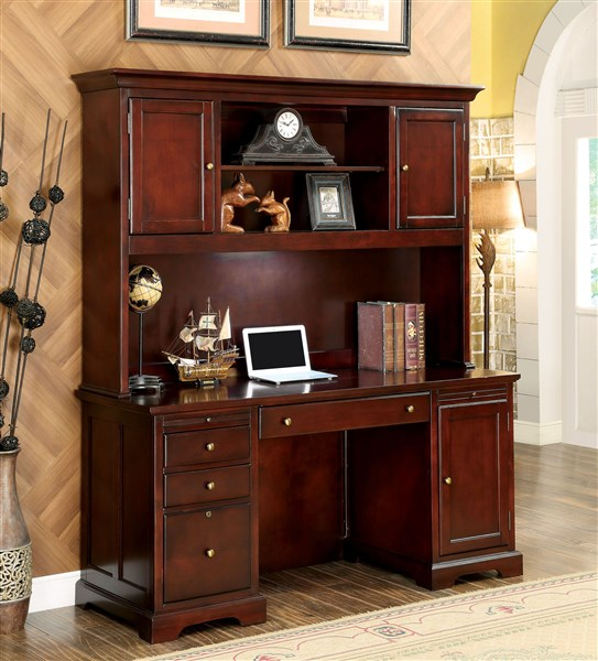 Desmont Transitional Cherry Home Office Credenza Desk