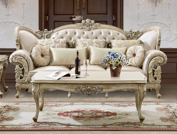 Cream Bonded Leather Sofa Set