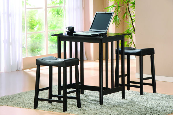 Scottsdale Cottage 3Pcs Black Small Counter Height Dining Set