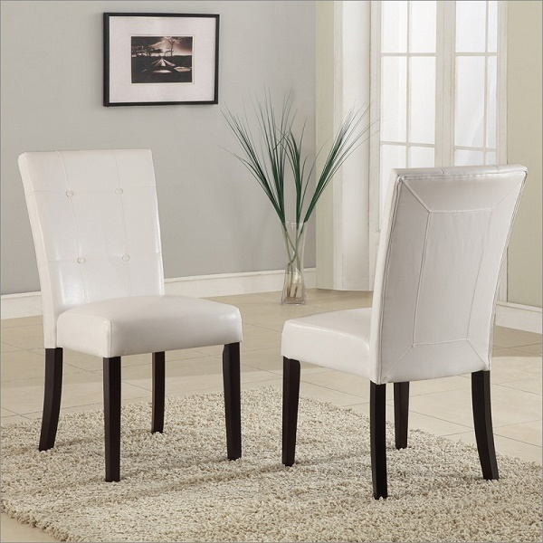 2Pcs Bossa Dining Height Parsons Chair In White Leatherette