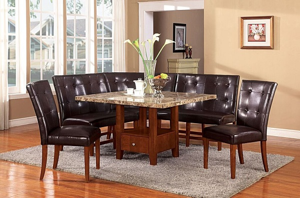 Bologna 6Pcs Brown Marble Top Dining Table Set & Bologna 6Pcs Brown Marble Top Dining Table Set - Shop for Affordable ...