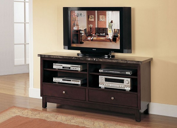 Faux Marble Top Tv Console In Black
