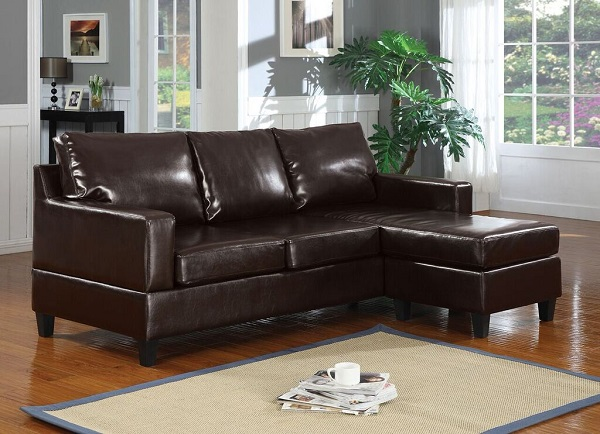 Vogue Espresso Reversible Chaise Sectional Sofa