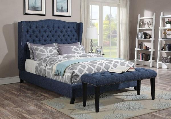 Awe Inspiring Faye Platform Bed W Bench In Blue Pdpeps Interior Chair Design Pdpepsorg
