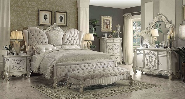 Versailles Queen Sleigh Bed In Ivory Velvet Shop For Affordable