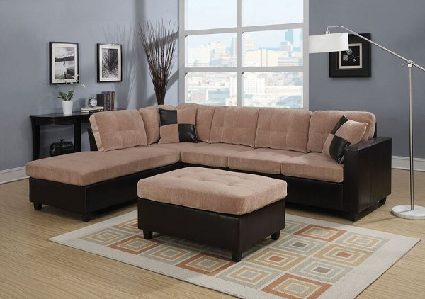 Gentil Milano Camel Reversible Sectional Sofa With Chaise