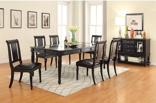 Caree Black Wood Rectangular Dining Set Leaf