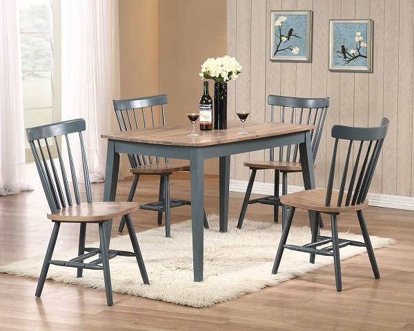 Margret Brown Oak Blue Dining Table Set For Affordable Home & Oak Color Dining Table - Dining room ideas