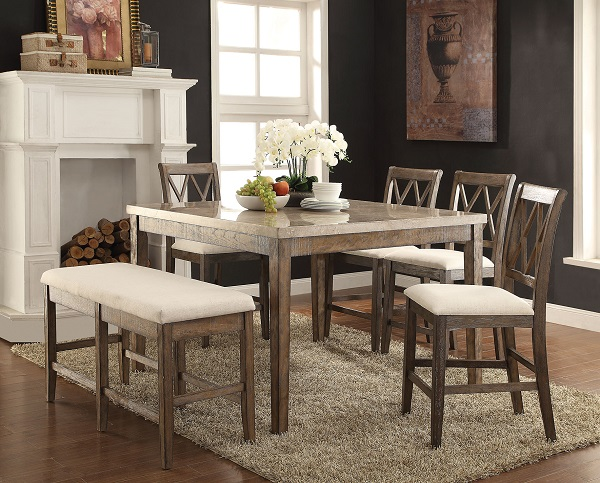 Claudia White Marble Salvage Brown Counter Height Dining Set