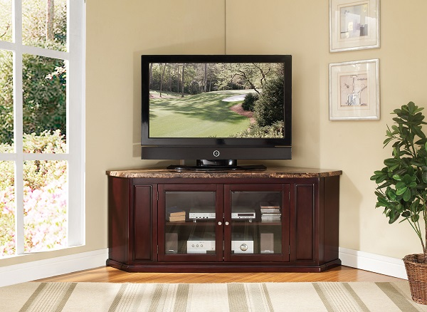 Nevin Faux Marble Top Espresso Corner Tv Stand Shop For Affordable