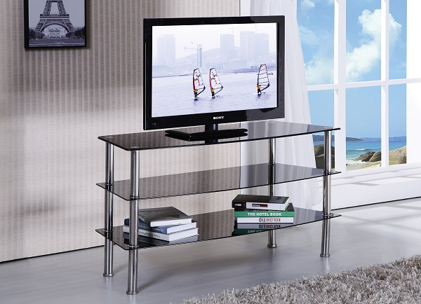 Marabel Black Tempered Glass Tv Stand Shop For Affordable Home