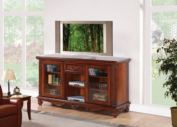 Dreena Cherry Wood Tv Stand With 2 Glass Doors Shop For Affordable