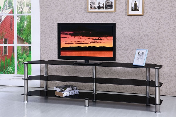 Marabel Chrome Black Tempered Glass Tv Stand Shop For Affordable