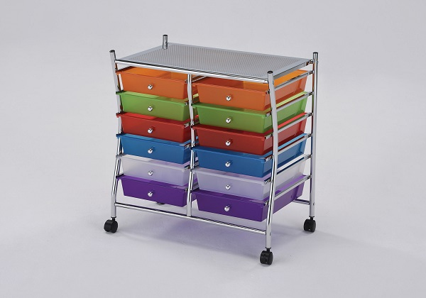 Palash Chrome And Rainbow Storage Cart With 12 Drawers