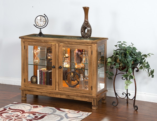 Sedona Traditional Rustic Oak Wood Glass Doors Console Curio Cabinet