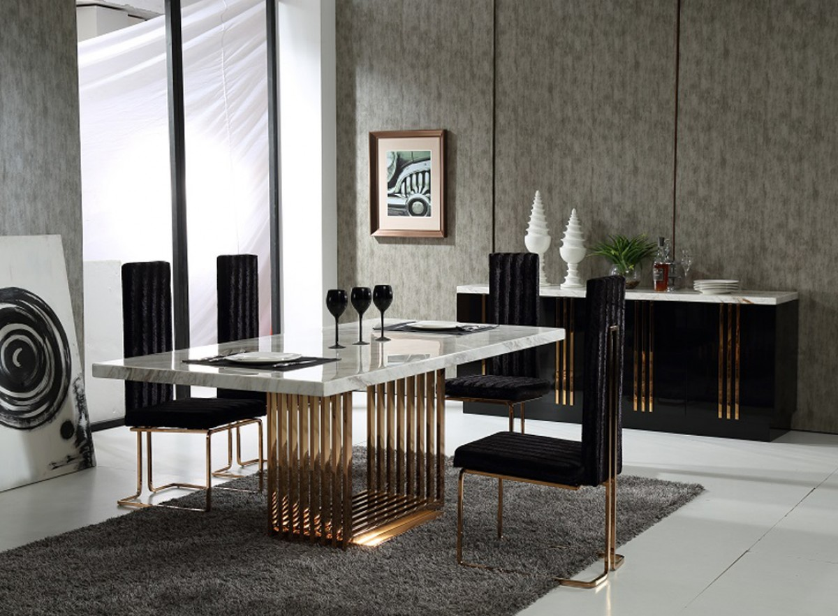 Awesome Marble U0026 Rosegold Dining Set
