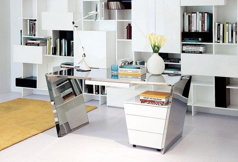chrome office desk. Todd Modern Chrome Office Desk \u0026 Cabinet