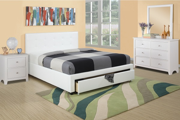 Full Faux Leather Bed In White