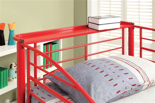 explorer jeep design red metal twin over twin bunk bed shop for affordable home furniture. Black Bedroom Furniture Sets. Home Design Ideas