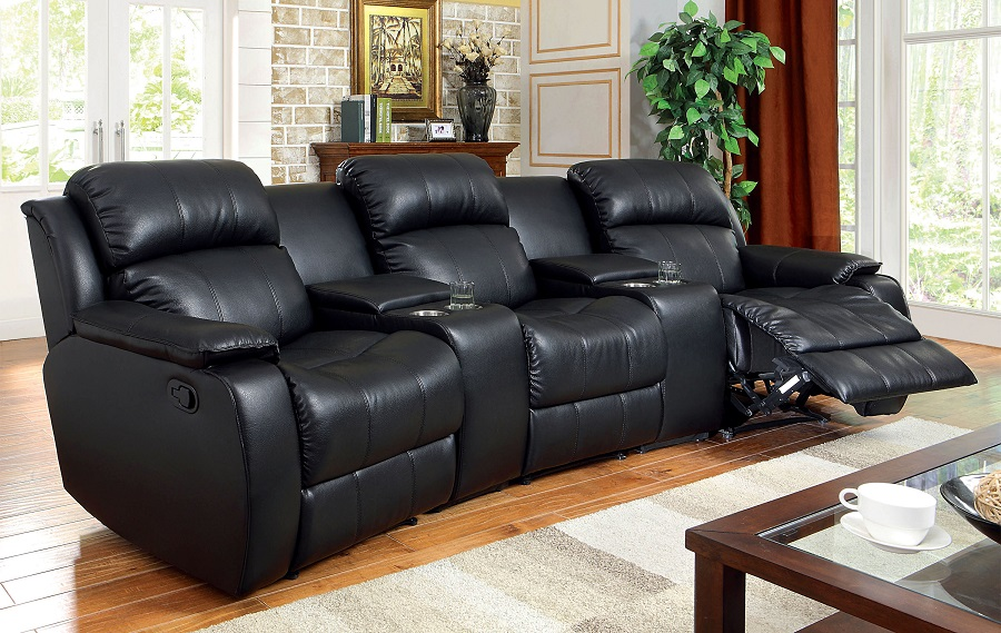 living room with sofa castlegar black bonded leather match home theatre recliner 16812
