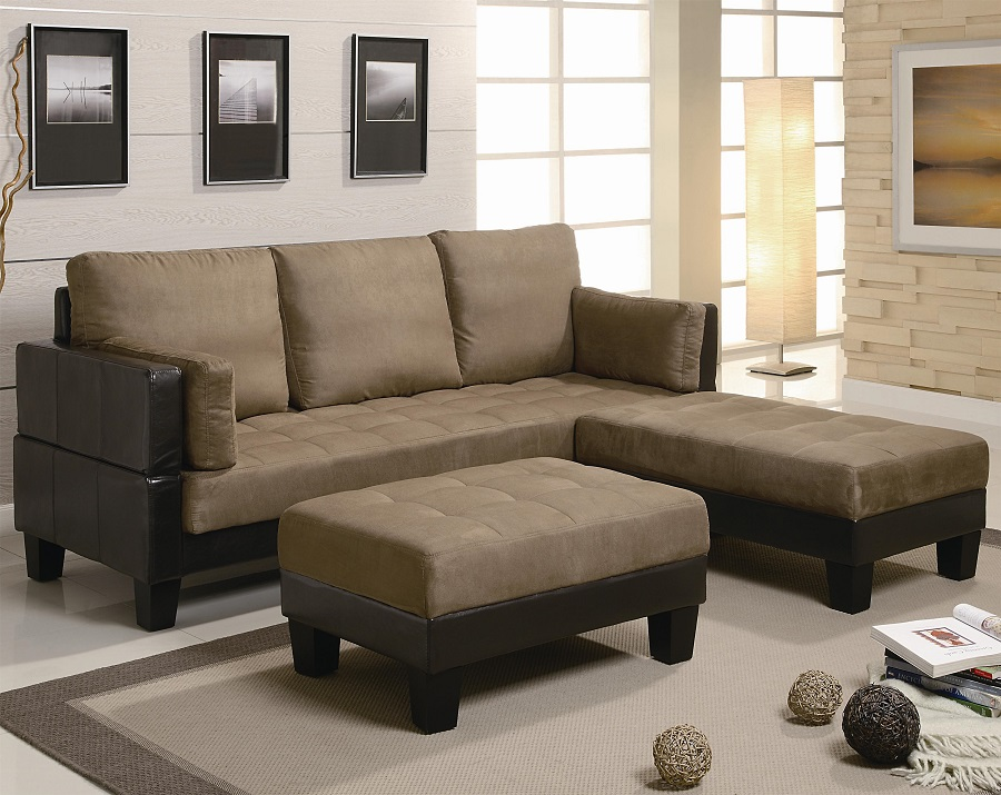 Brown Microfiber Futon Sofa Bed Set