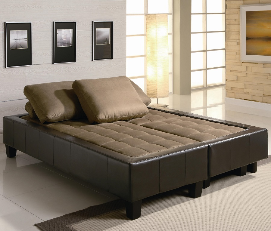 Delicieux Brown Microfiber Futon Sofa Bed Set