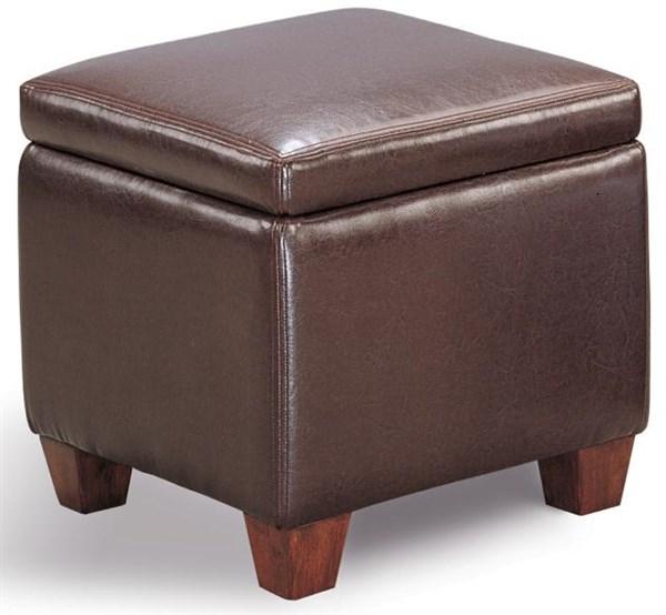 Dark Brown Faux Leather Storage Ottoman