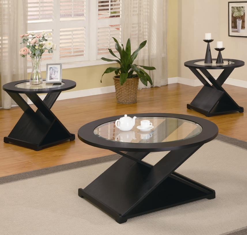Black 3 Pieces Round Occasional Table Set : black coffee and end table set - pezcame.com