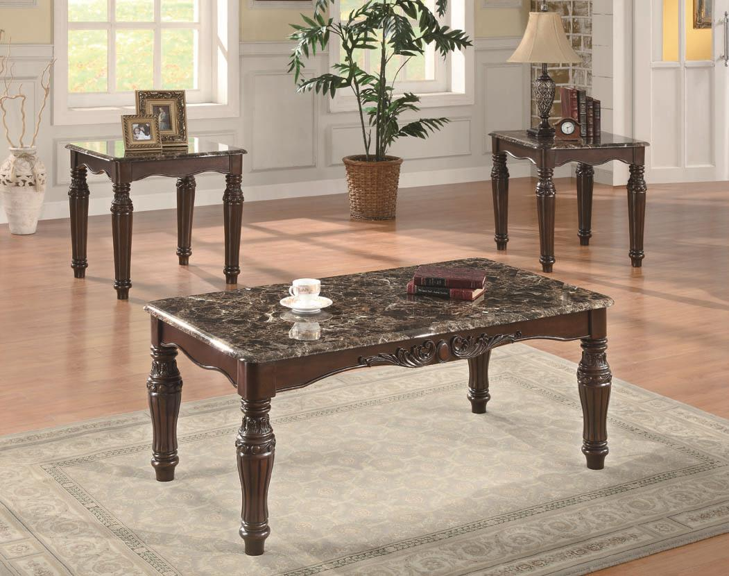 Beau 3Pcs Faux Marble Top Occasional Table Set