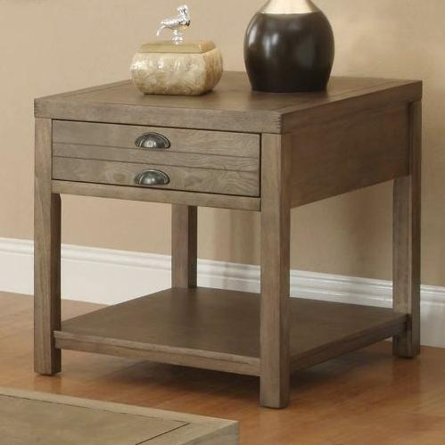 Light Oak End Table With One Drawer