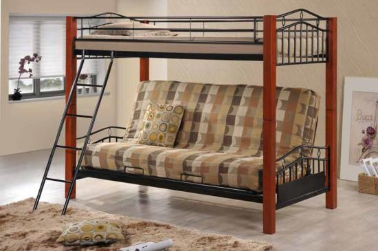 Black Metal And Cherry Wood Twin Over Futon Bunk Bed Shop For
