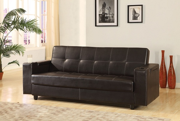 Sanya Brown Pu Storage Sofa Bed Futon Sleeper Cup Holders Shop For