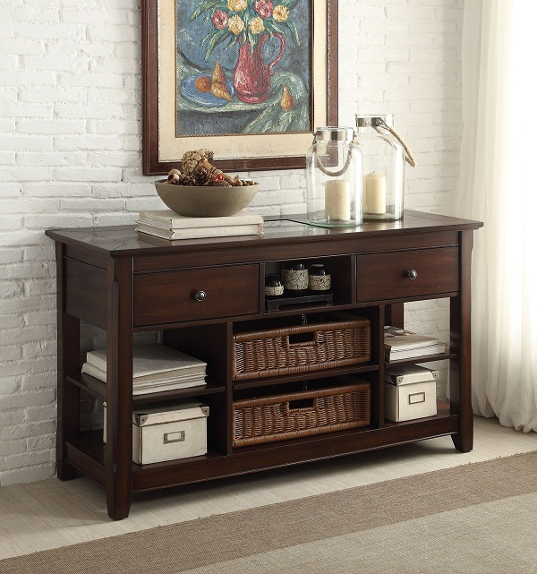 Hagen Cherry Clear Gl Sofa Table With 2 Baskets