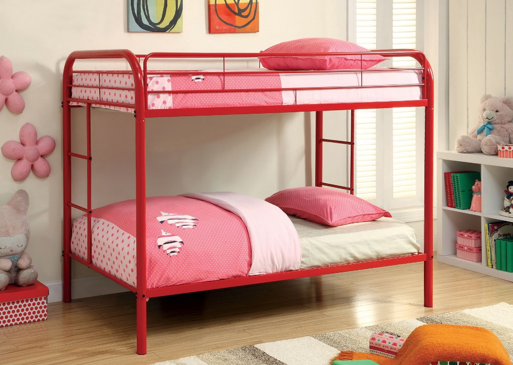 rainbow red metal kids twin twin bunk bed shop for affordable home furniture decor outdoors. Black Bedroom Furniture Sets. Home Design Ideas