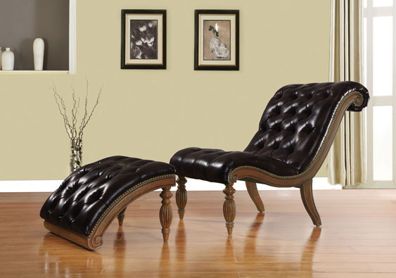 Tremendous Kirby Dark Brown Cherry Bonded Leather Chair Ottoman Pdpeps Interior Chair Design Pdpepsorg