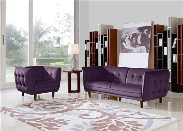 Venice Button Tuft Purple Patterned Velvety Fabric Sofa