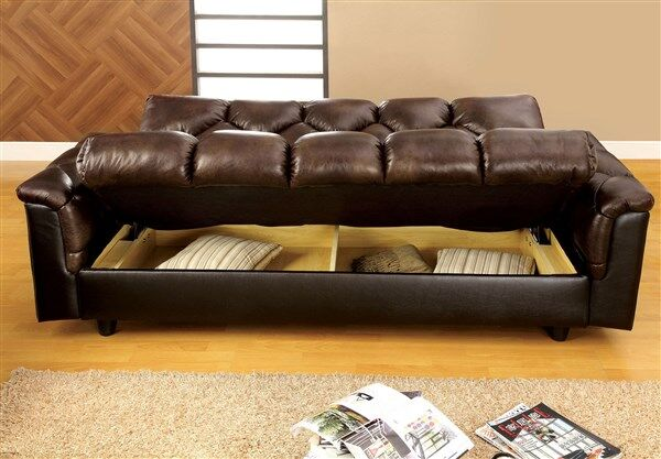 Bowie Brown Leather Like Fabric Match Storage Futon Sofa Bed