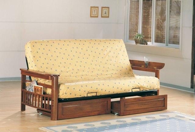 Oak Futon Wood Frame With Storage Drawers
