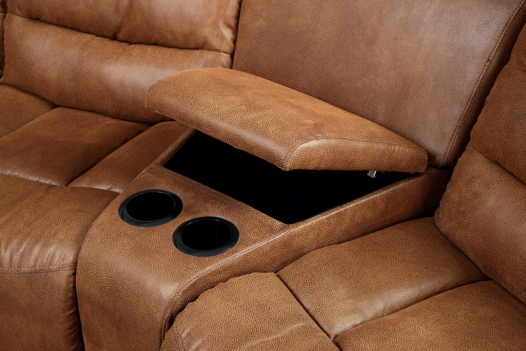 Manchester Brown Leather-Like Fabric 2 Recliners Sectional Sofa