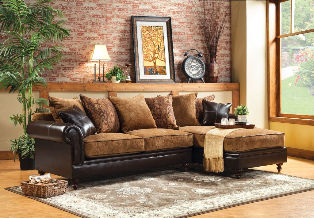 Gaspard Traditional Two Tone Sectional Sofa Couch