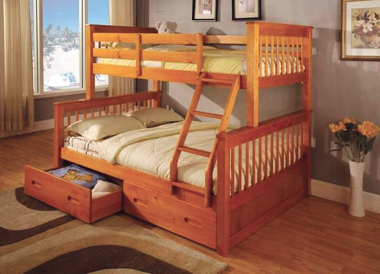 Twin Full Bunk Bed With 2 Roller Drawers Shop For Affordable Home