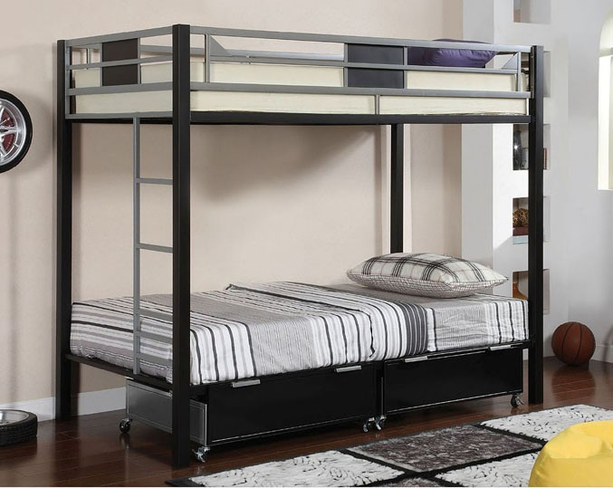 Clifton Contemporary Metal Twin Over Bunk Bed