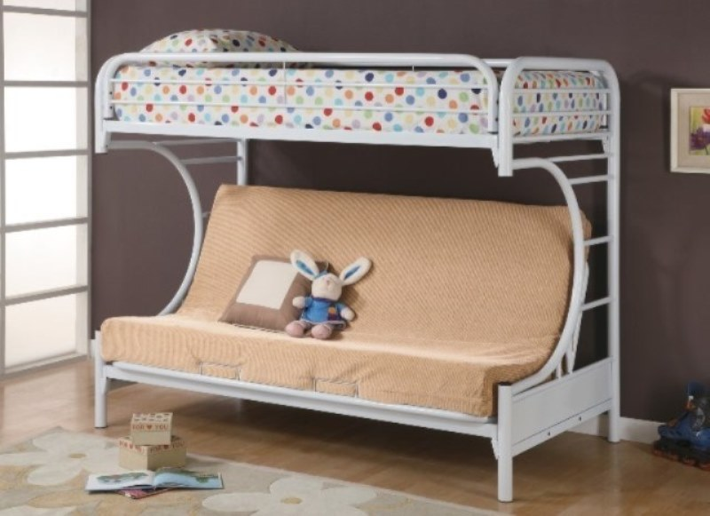 White Metal Twin Over Full Futon Bunk Bed