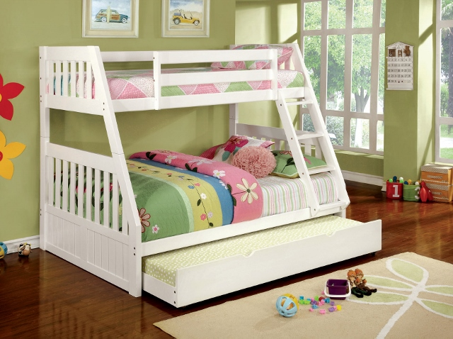 Canberra Ii Kids White Wood Twin Over Full Trundle Bunk Bed
