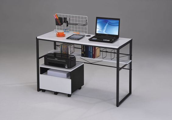 Computer Desk With File Cabinet In Black And White
