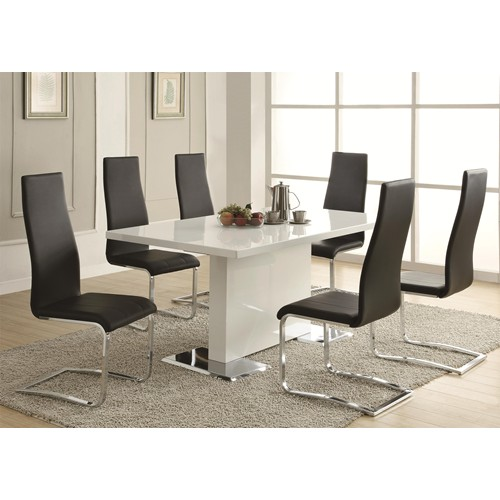 White Chrome Metal Base Dining Table Set