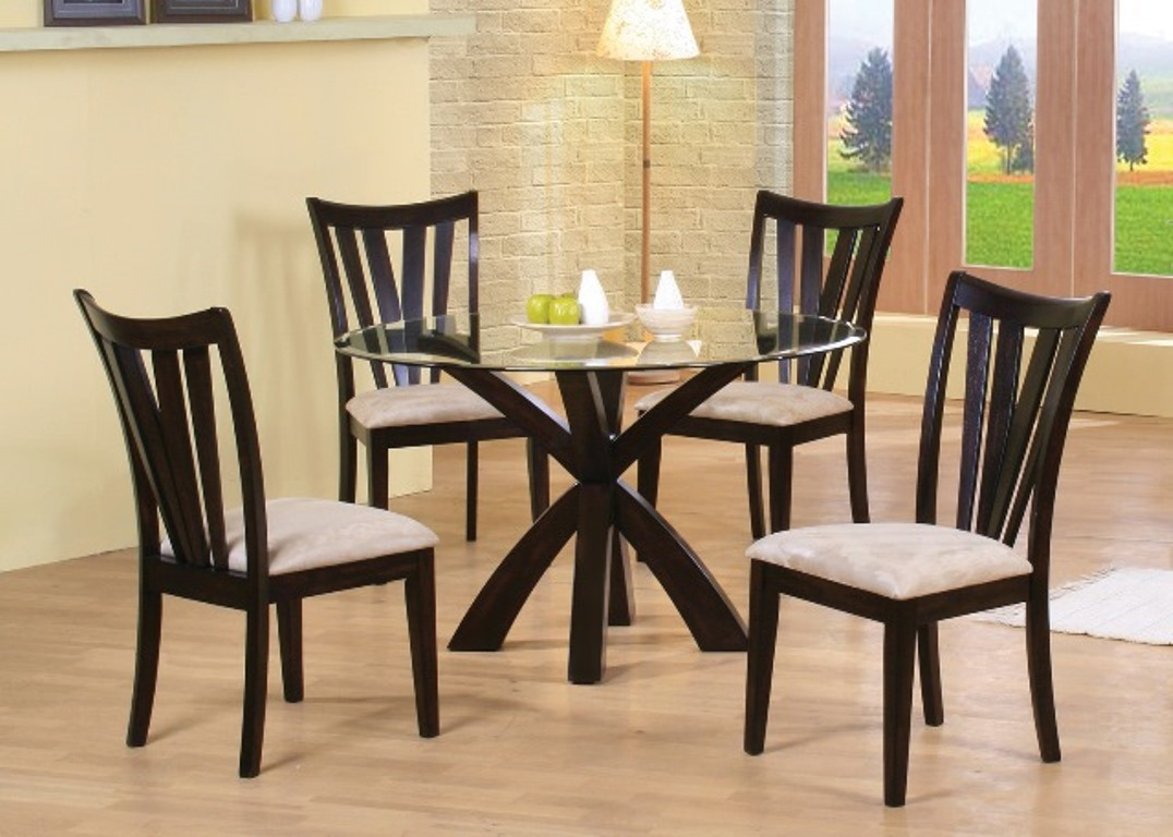Round Gl Top Cuccino Base Dining Table Set