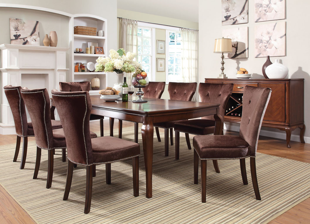 Kingston Wood Dining Set In Brown Cherry