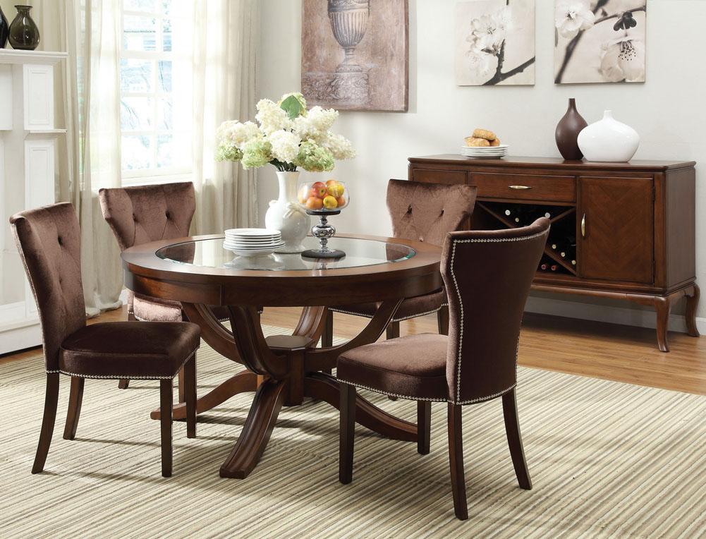 Attractive Kingston Round Pedestal Dining Set In Brown Cherry
