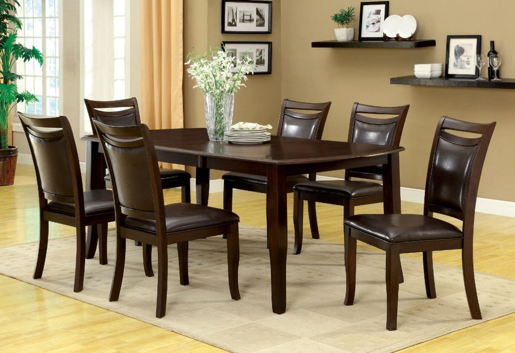 Woodside Dark Cherry Expandable Leaf Dining Table Set Shop For - Dining table with expandable interior leaves